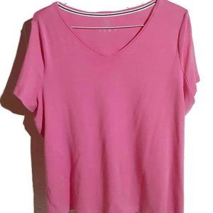 Talbots Womens T-Shirt V-Neck Pink Size 2X